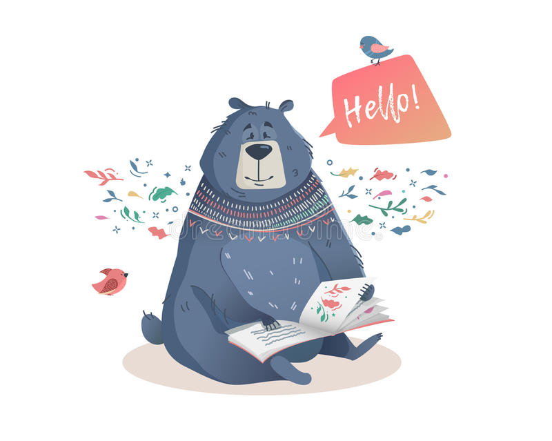 Children's illustration of a bear with book fairy tales. Children's illustration of a bear with a book of fairy tales. Character the bear to print on a T-shirt royalty free illustration