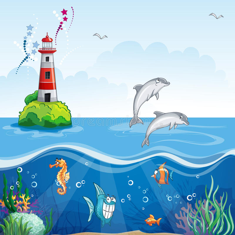 Children S Illustration Of The Lighthouse And The Sea Dolphins Stock Vector