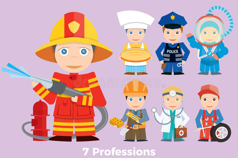 Children`s illustration people profession. Young children are shown as the representatives of various professions royalty free illustration
