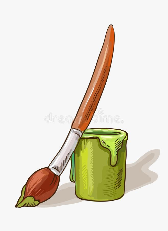 Brush stained with green paint stands next to a jar of gouache or acrylic paint. Vector hand drawn illustration isolated on white. Children`s illustration on the stock illustration