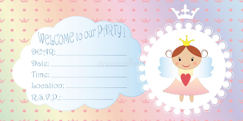 Children s invitation. Princess Birthday Party Invitation vector illustration