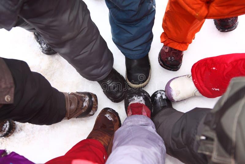 Download Children's Legs Stand Around, Top View Stock Photo - Image: 9705404