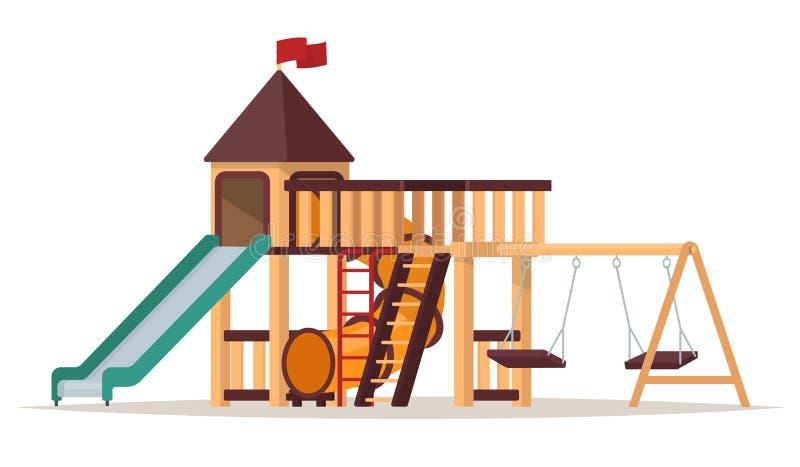 Children& x27; s-lekplats med gungor och glidbanor på vit bakgrund vektor illustrationer