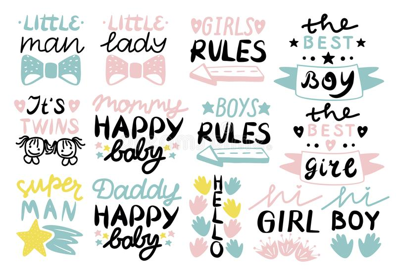13 children s logo with handwriting Little man,lady, Girls, boys rules, Mommy, Daddy happy baby, Hello, It s twins. stock illustration