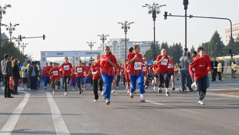 Children's marathon race stock images