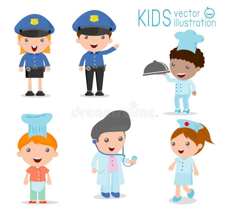 Children& x27; s marzy pracy, zawody w sen dla dzieciaków, Szczęśliwi dzieci w pracy odzieży ilustracji