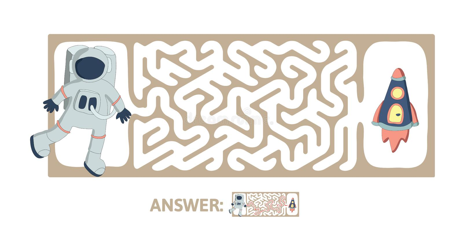 Children`s maze with astronaut and rocket. Puzzle game for kids, vector labyrinth illustration. Children`s maze with astronaut and rocket. Cute puzzle game for royalty free illustration