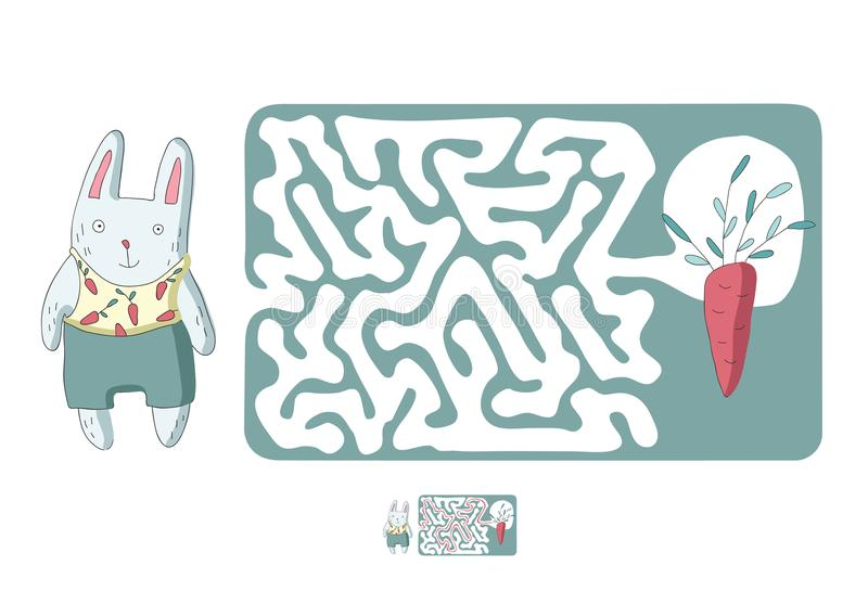 Children`s maze with rabbit and carrot. Puzzle game for kids, vector labyrinth illustration. Children`s maze with rabbit and carrot. Cute puzzle game for kids vector illustration