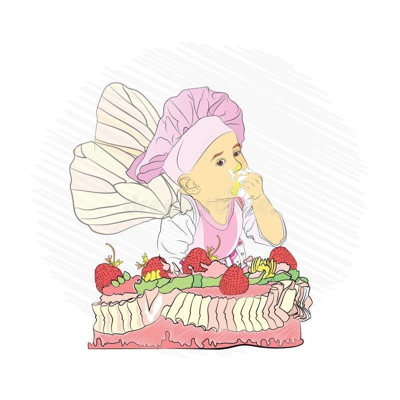 Children& x27; s-meny söt kaka och vektor illustrationer