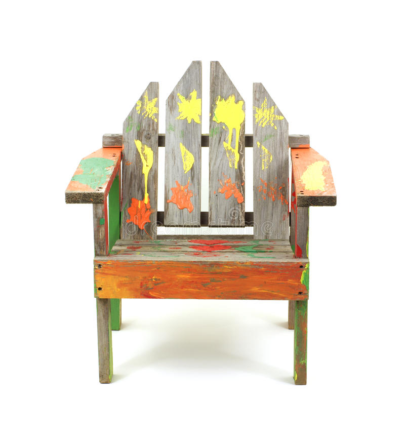 Download Children's Old Painted Lawn Chair Stock Images - Image: 12108774