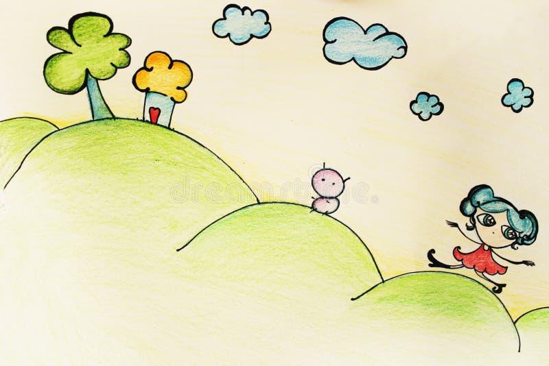 Children's paint royalty free illustration