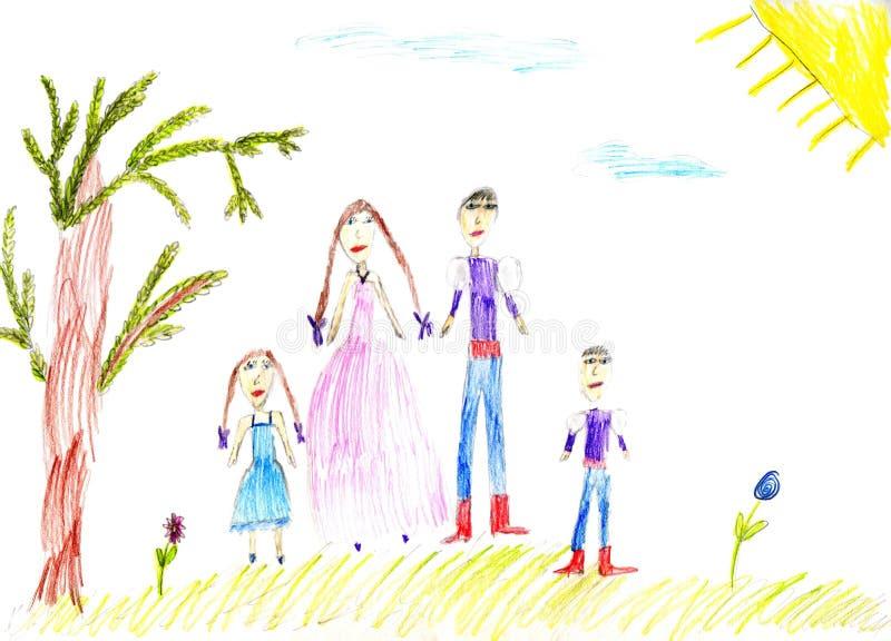 Children's paint family in summer nature stock illustration
