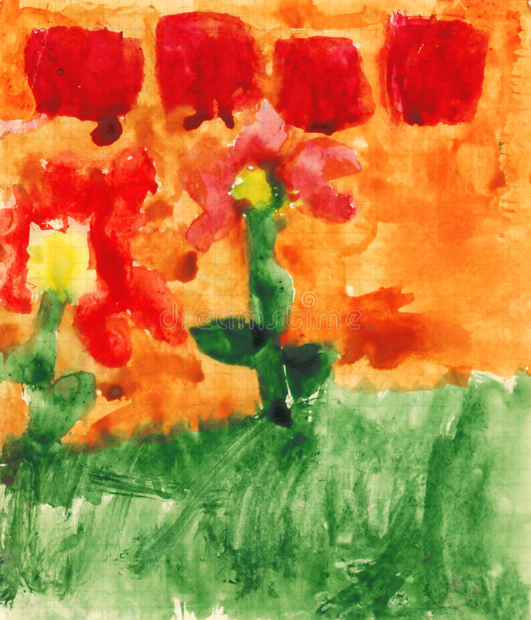 Children's paint flowers royalty free illustration