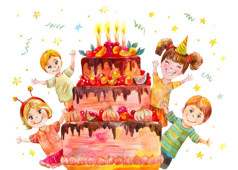 Childrens Party At The Birthday Of A Classmate Stock Illustration