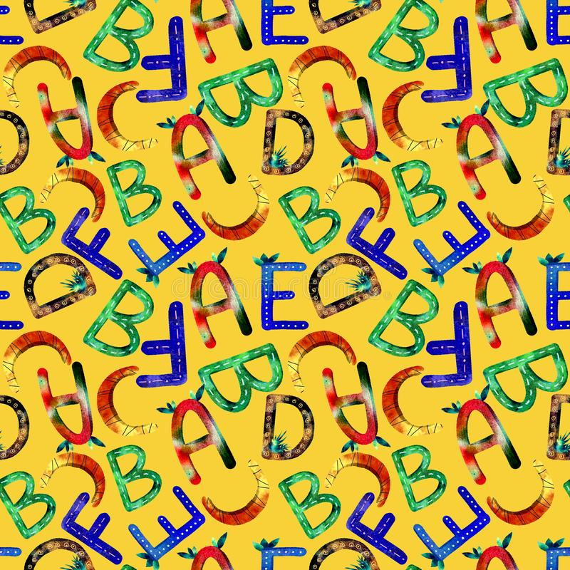Children`s pattern English alphabet royalty free illustration