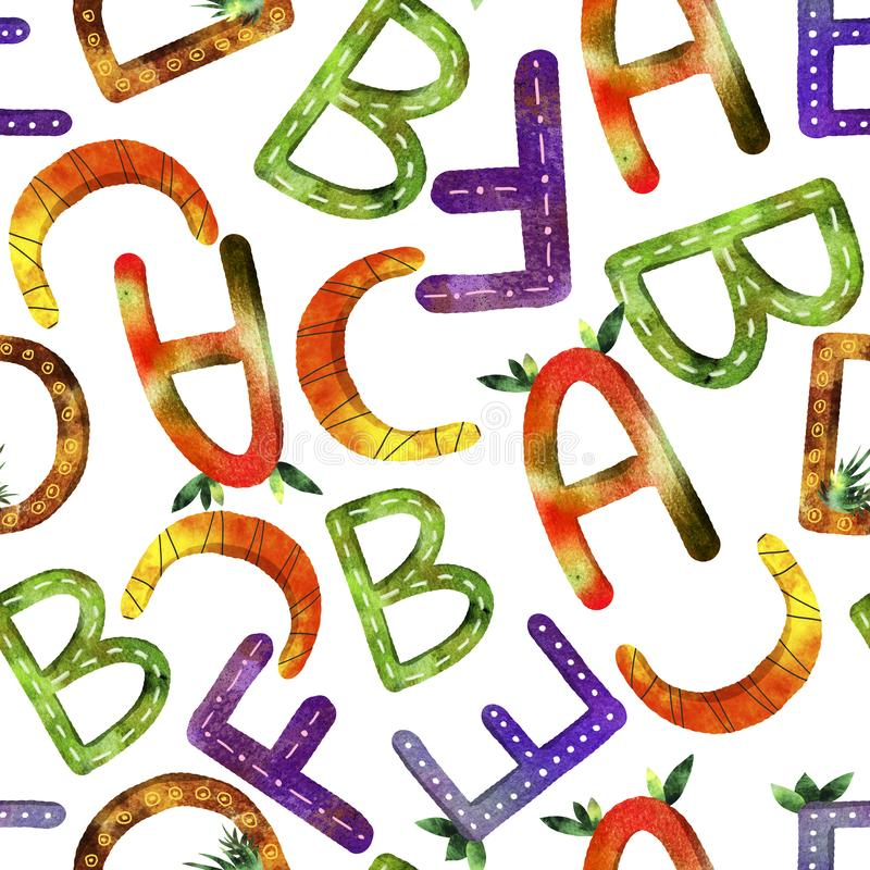 Children`s pattern English alphabet stock illustration