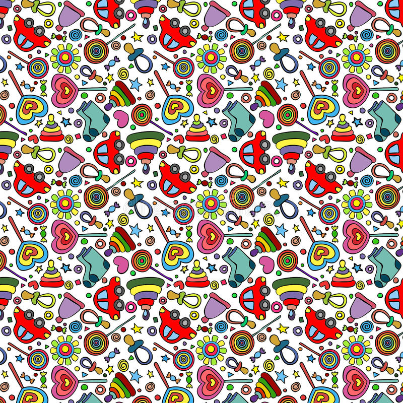 Children`s pattern, toys, clothes and candies stock photography