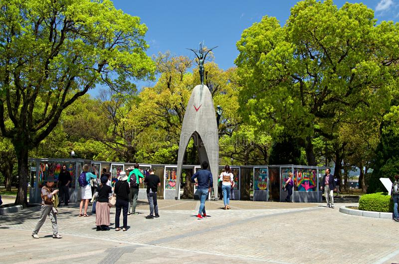 Children`s Peace Monument in Hiroshima, Japan. Children`s Peace Monument with A Thousands of a Paper Crane in Hiroshima called also Atomic Bomb Children Statue royalty free stock photos