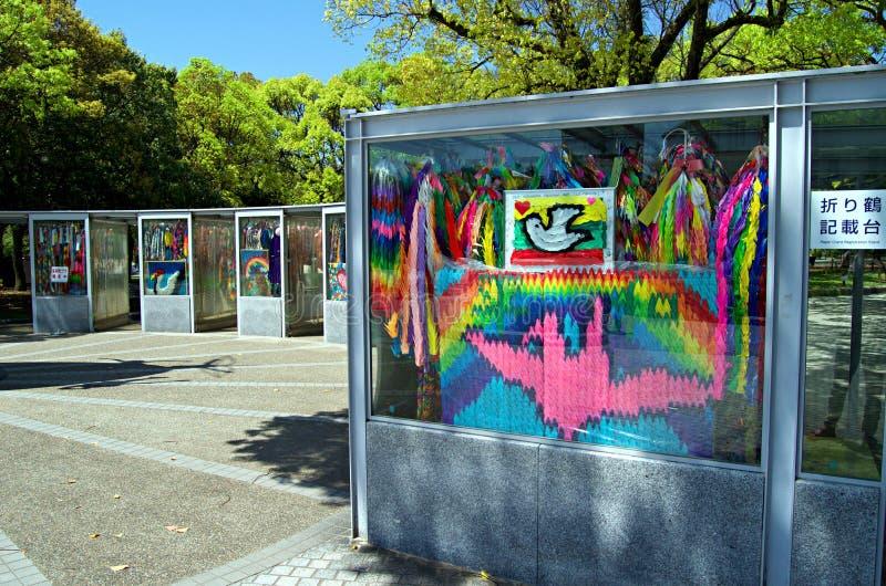 Children`s Peace Monument in Hiroshima, Japan. Children`s Peace Monument with A Thousands of a Paper Crane in Hiroshima called also Atomic Bomb Children Statue stock photography