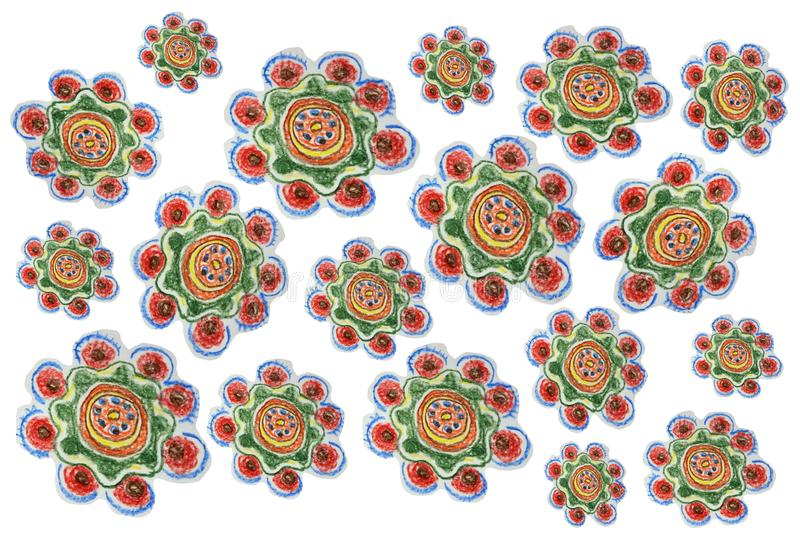 Children`s pencil drawing. floral pattern in watermelon colours stock photo