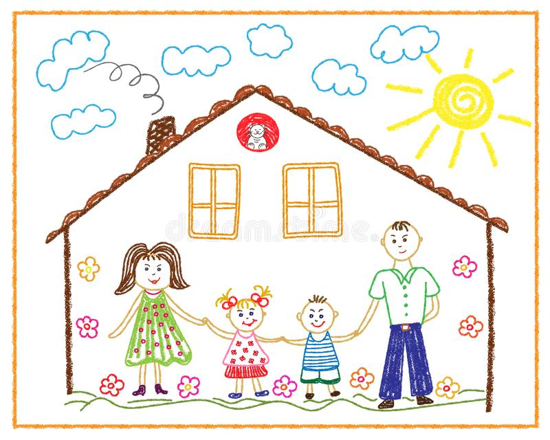 Children`s pencil drawing on the tum family, home, friendship, love stock photo