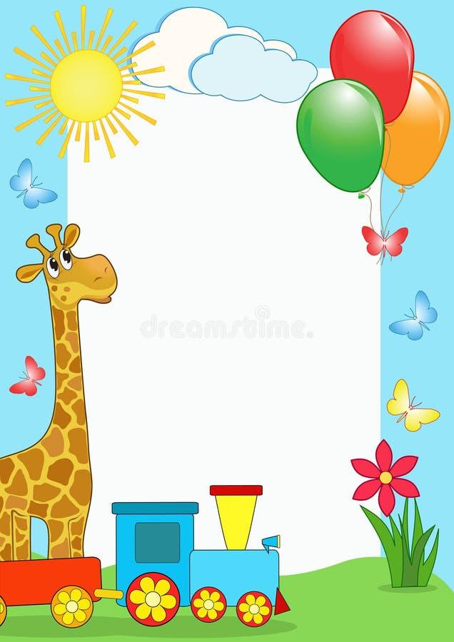 Download Children's Photo Framework. Giraffe And Train. Stock Vector - Illustration: 14349644