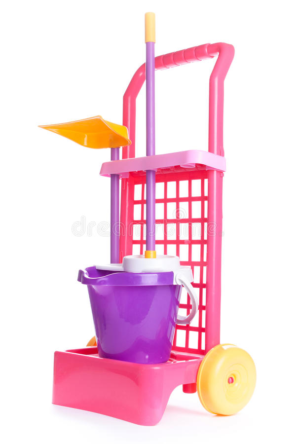 Children's plastic cleaning kit toy isolated on white background royalty free stock photography