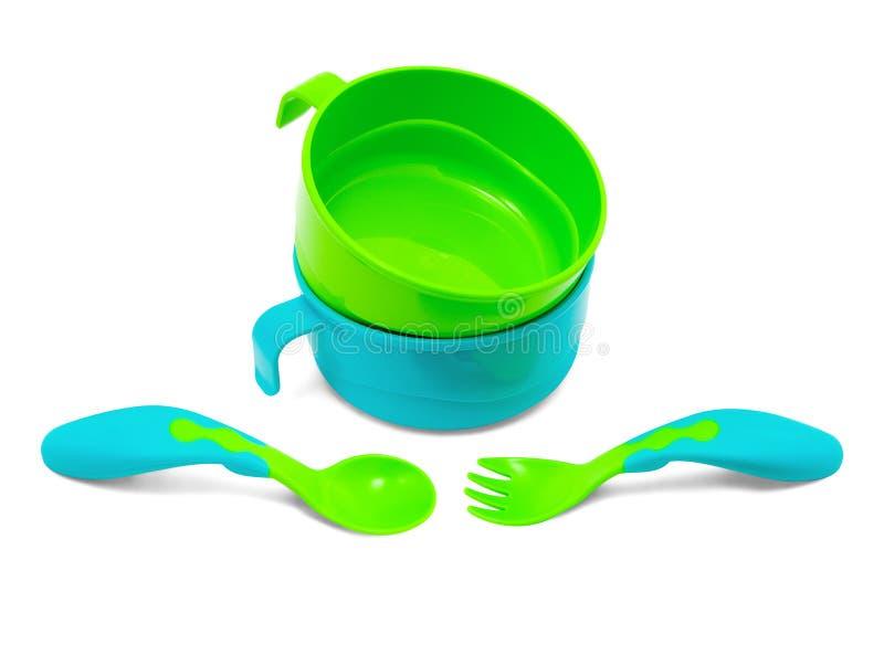Children's plastic tableware royalty free stock photos