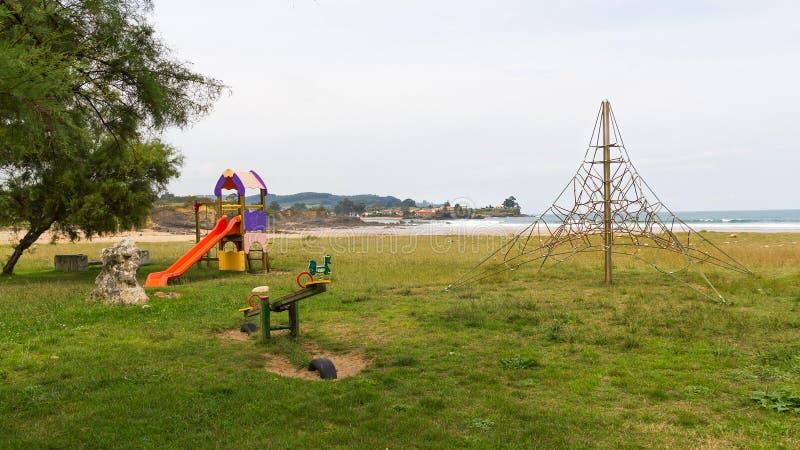 Children`s Playground on the Beach royalty free stock image