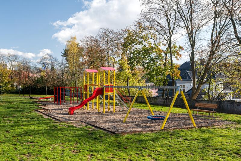 Children`s playground in the city park in Liberec city royalty free stock photography