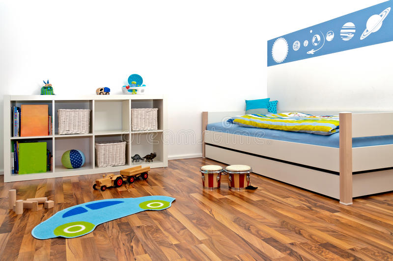 Children's Playroom. With bed and rack and some toys stock photos