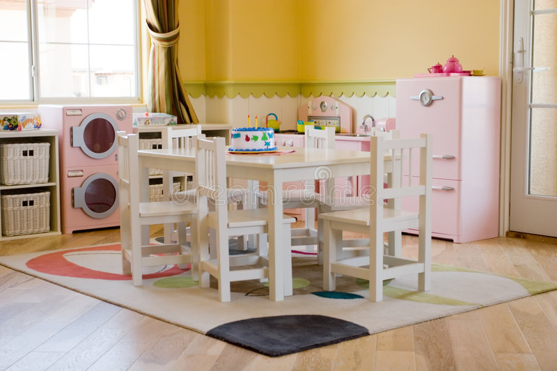 Children's playroom. Decorated for girls royalty free stock images
