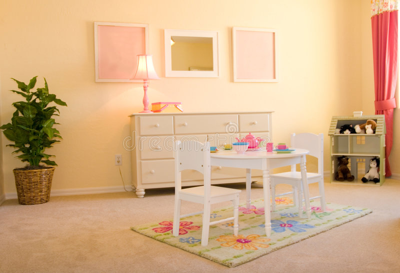 Children's playroom. Pink children's playroom for girls royalty free stock images