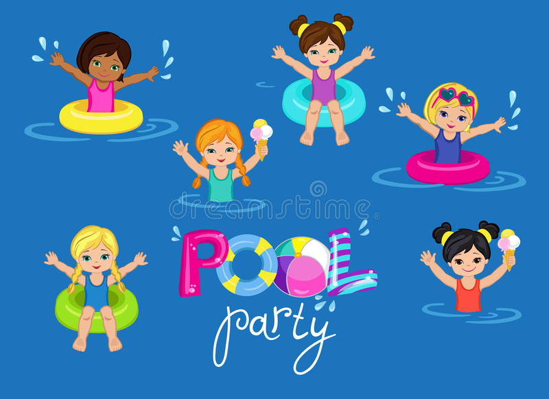 Children 39 s pool party on background stock vector for Pool design elements