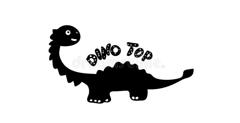 Children`s print silhouette of a dinosaur in the style of doodle. Black dino with the inscription Dino Top. Phrase vector illustration