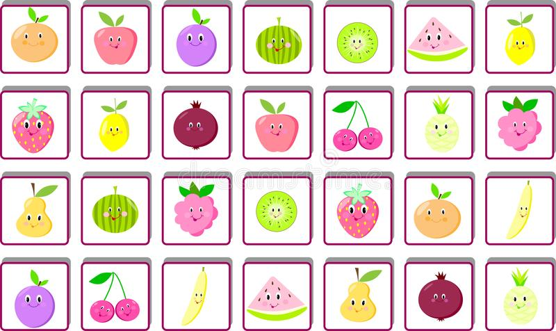Children`s puzzle game find two identical fruits, page, task, puzzle stock illustration