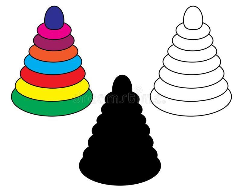 Children`s pyramid, toy, icons, set. Vector. Children`s pyramid toy, icons, set. Vector royalty free illustration