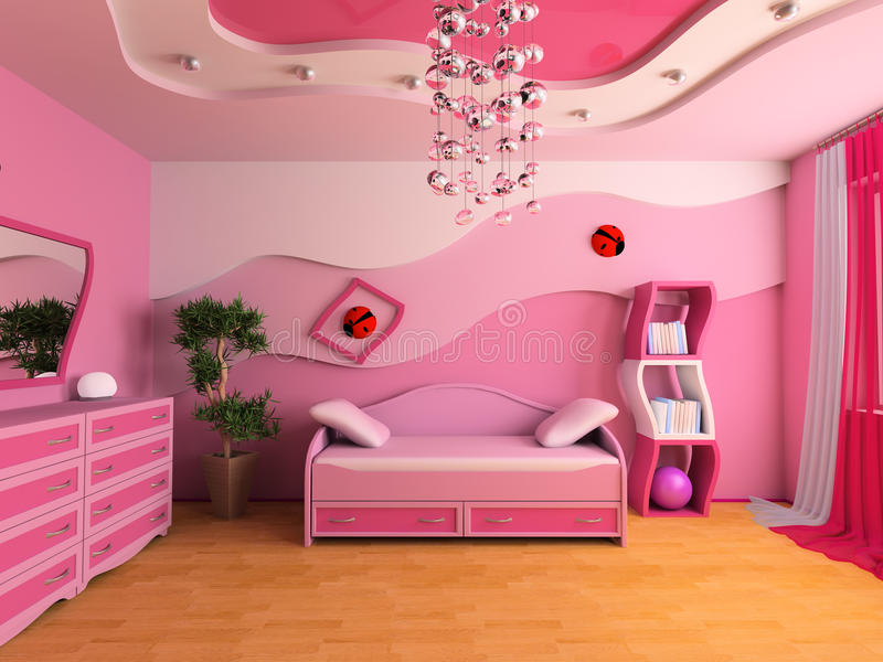 Children's room. Pink children's room with a sofa 3d image stock illustration