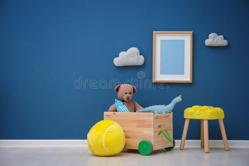 Children`s room with bright color wall stock photo