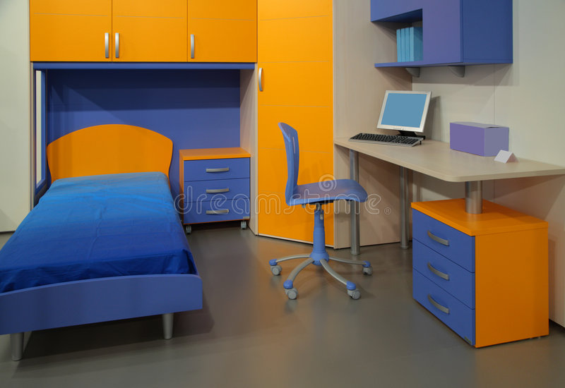 Download Children's Room With Computer Stock Image - Image of electronics, blue: 9292173