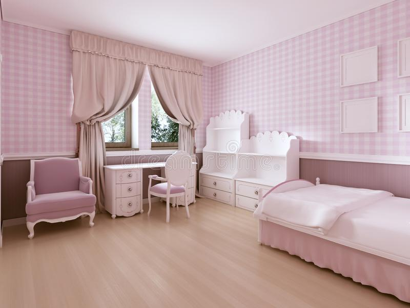Children S Room For Girls In Classic Style In Light Pink Colors And White Furniture Stock Illustration Illustration Of Crib Color 132356218