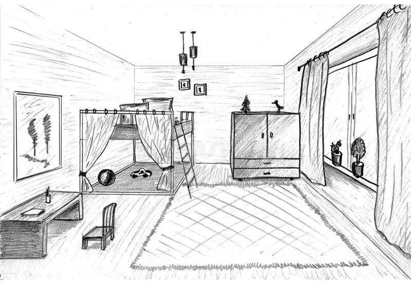 Children S Room Graphical Sketch Stock Images