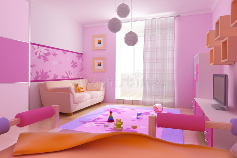 Children\'s room interior stock illustration. Illustration of loft ...