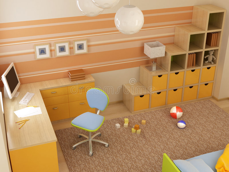 Children's room interior vector illustration