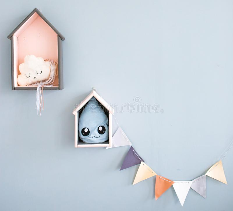Children`s room interior items. a droplet and a cloud for children. wallpapers and backgrounds for children stock image