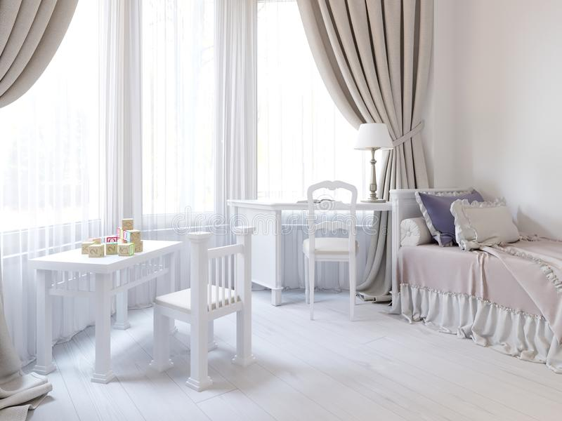 Children`s room in a luxurious white color, with a bed, a wardrobe and a children`s game table stock illustration