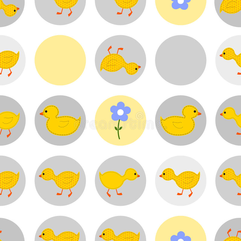 Children`s seamless background with ducklings stock illustration