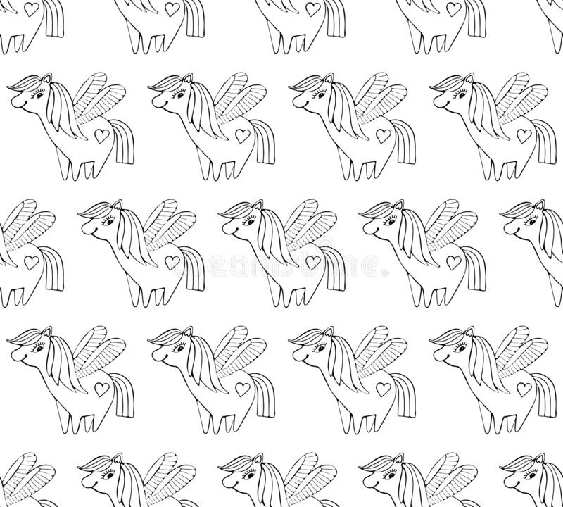 Children s seamless pattern. Cute little pink magical unicorn with wings. Black and white line. Vector design on white background stock illustration