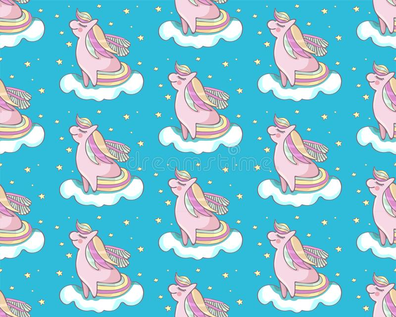 Children s seamless vector pattern. Cute, pink pony flying on a cloud among the stars. Fairy cartoon pony child. Mythical pony for vector illustration