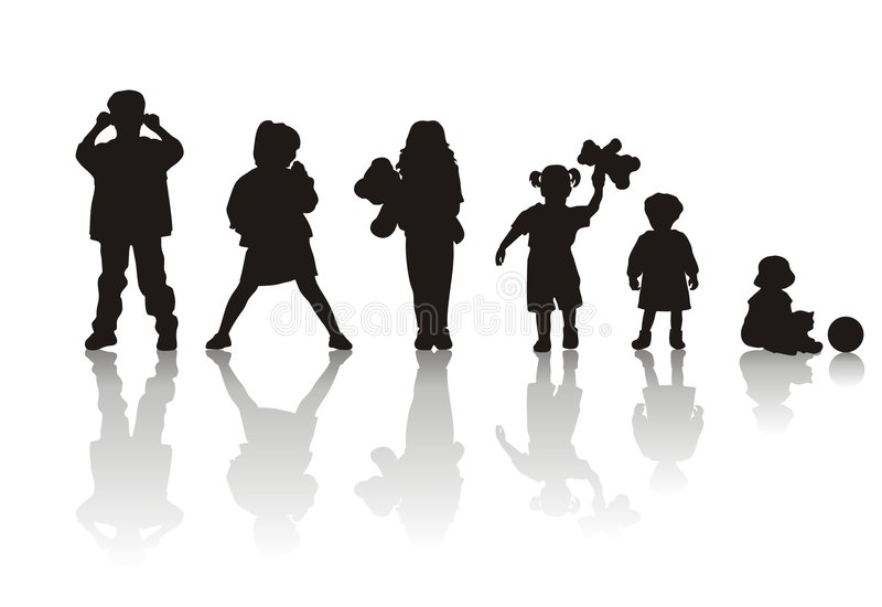 Children's silhouettes stock illustration